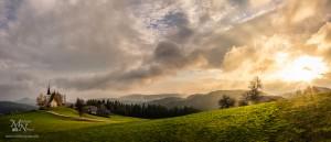 Bojtina z večernim soncem, Pohorje