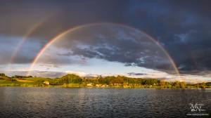 Mavrica nad Perniškim jezerom - panorama