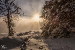 Sončna zvezda z meglo, Areh na Pohorju