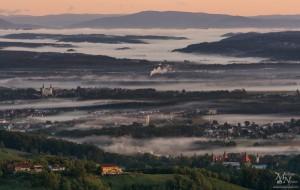 Jutro z meglo - pogled v avstrijsko stran