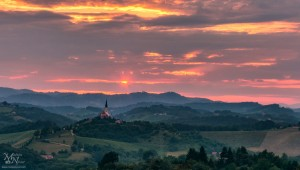 Sončni zahod skozi temne oblake, Malečnik