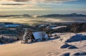 Zasneženi pogled s Pohorja